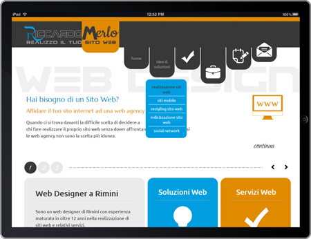 Sito Web Mobile per Tablet