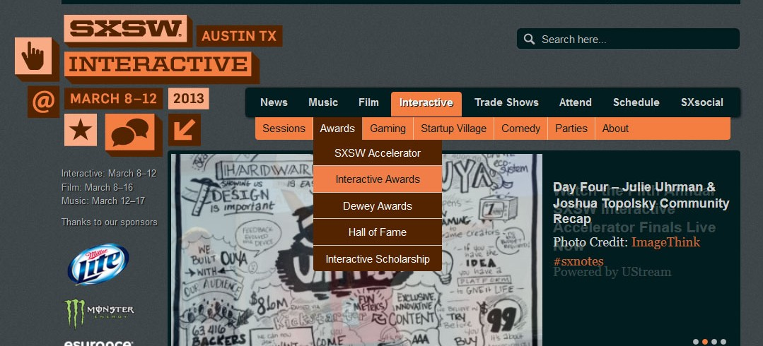 SXSW 2013 Interactive Awards