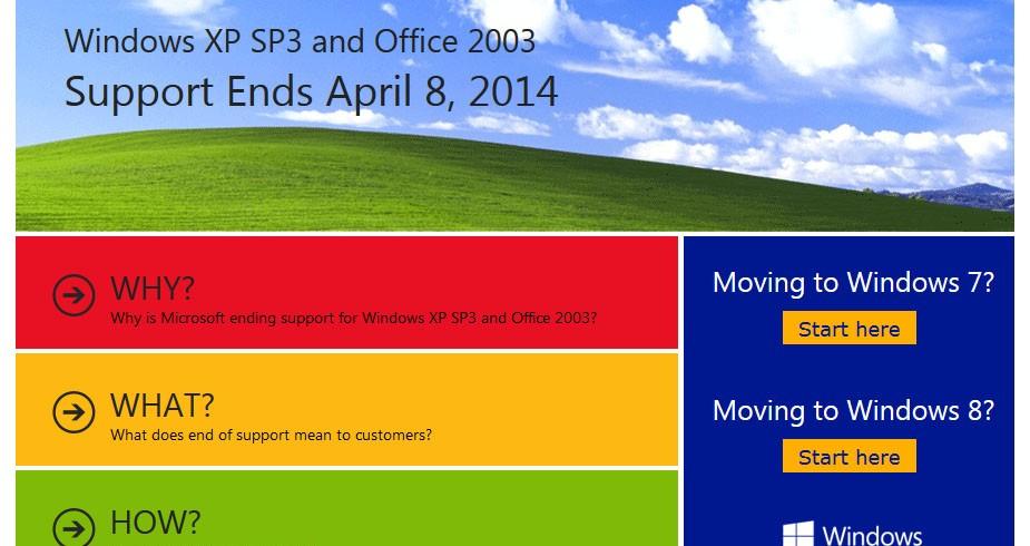 Windows XP: ultimi aggiornamenti fino all'8 aprile 2014